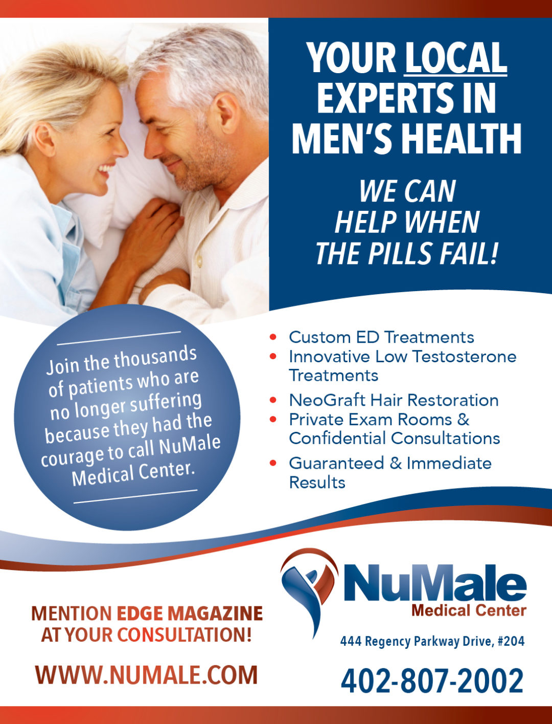 NuMale Medical Center Ad